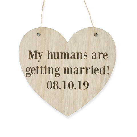 Custom Heart Shaped Save The Date Dog Pet Cat Wedding Signage Wooden Sign Laser Engraved Photo Prop Wedding Decoration Accessories- Le Petit Pain