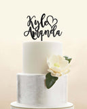 Custom Personalized First Names Heart Wedding Cake Topper Modern Script Cursive Font