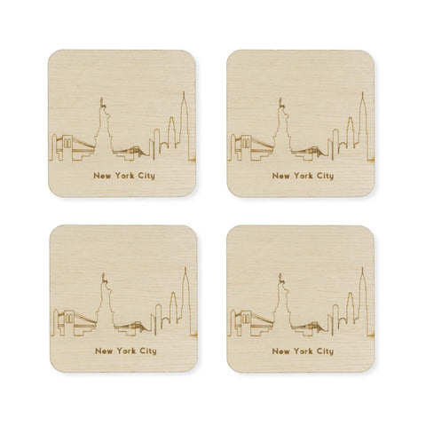 Custom Wood City Coasters New York City Set of 4 Artisan Designed Laser Cut