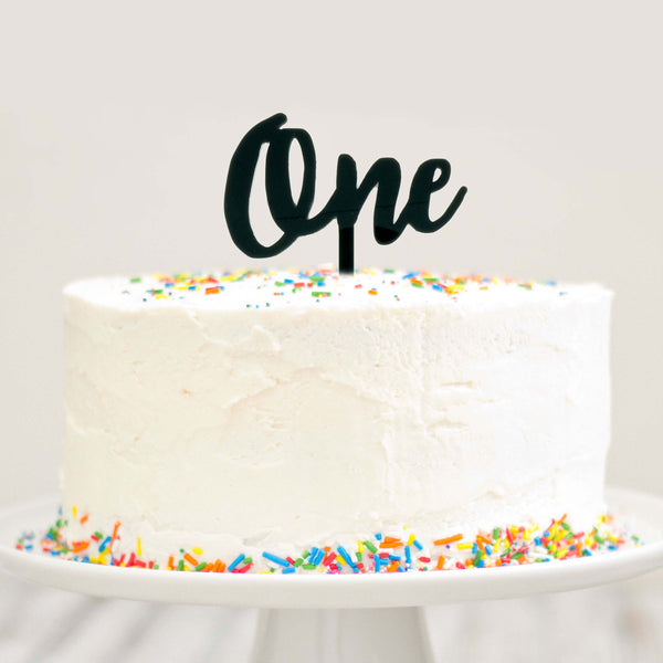 One Cake Topper 1 Year Old Birthday Modern Cursive Smash Top Le Petit Pain