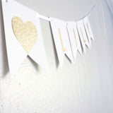 Custom Personalized White and Gold Glitter Bride and Groom Names Wedding Flag Banner, Engagement Photo Prop, Save the Date Thank You White Paper Garland Decoration- Le Petit Pain