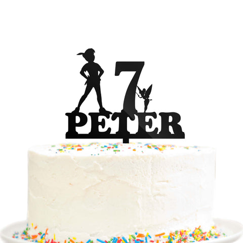 Peter Pan Tinkerbell Custom Personalized Birthday Cake topper Black Acrylic