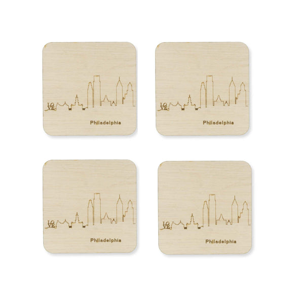 Custom Wood City Coasters Philadelphia Set of 4 Artisan Designed Laser Cut- Le Petit Pain