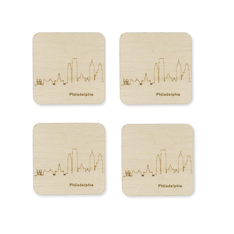 Custom Wood City Coasters Philadelphia Set of 4 Artisan Designed Laser Cut