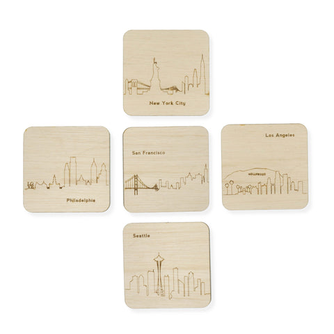 Custom Wood City Coasters Seattle San Francisco Los Angeles Philadelphia New York Set of 4 Artisan Designed Laser Cut - Mix and Match