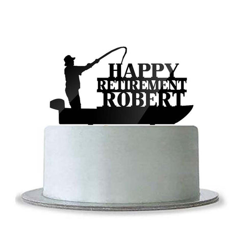 Custom Personalized Happy Retirement with Name Cake Topper Fishing Boat Fisherman