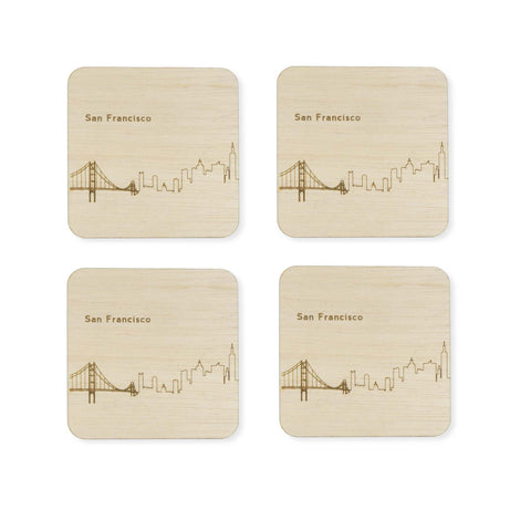 Custom Wood City Coasters San Francisco Set of 4 Artisan Designed Laser Cut- Le Petit Pain