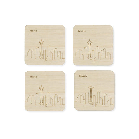Custom Wood City Coasters Seattle Set of 4 Artisan Designed Laser Cut