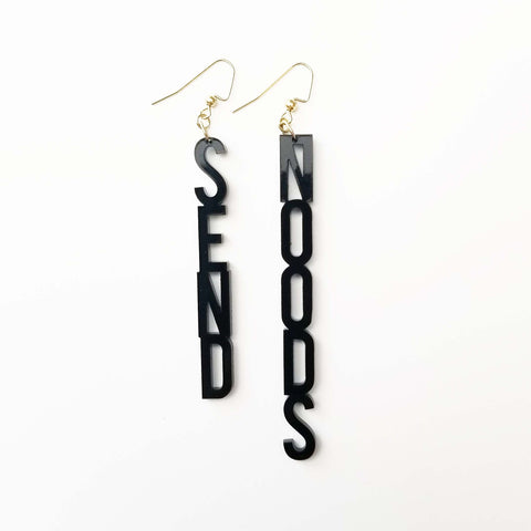 SEND NOODS Earrings Word Block Black Acrylic Jewelry
