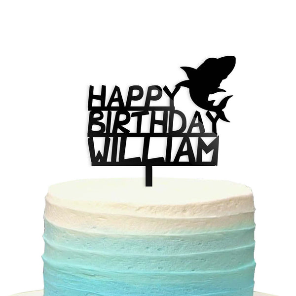 Custom Personalized Name Baby Shark Doo Happy Birthday Cake Topper