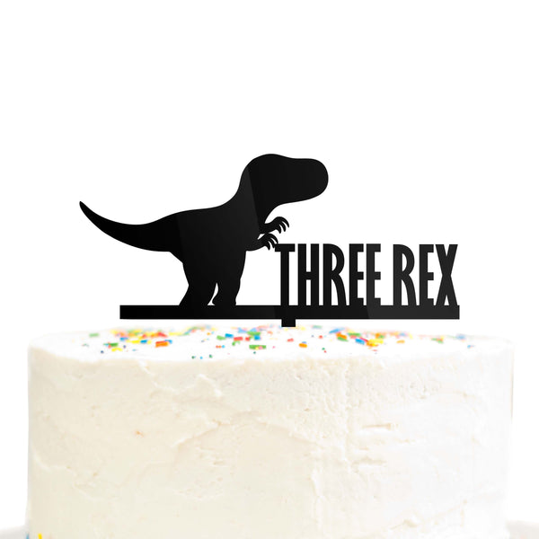 Three Rex Dinosaur 3 Year Old Birthday Cake Topper Black Acrylic
