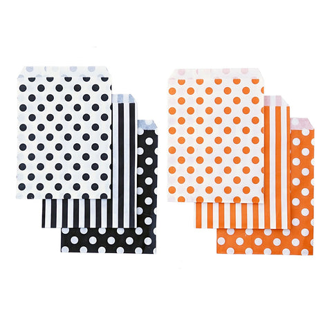 48 Black Orange Polka Dot Stripes 5x7 Treat Bags Goody Bags Halloween Party Decor - le petit pain