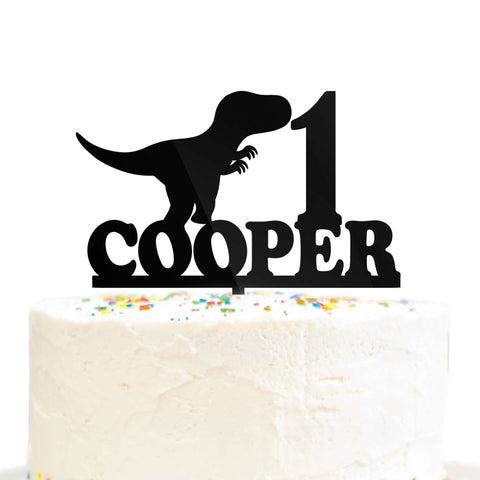 Custom Personalized Birthday Name Age Dinosaur Cake Topper Tyrannosaurus Acrylic