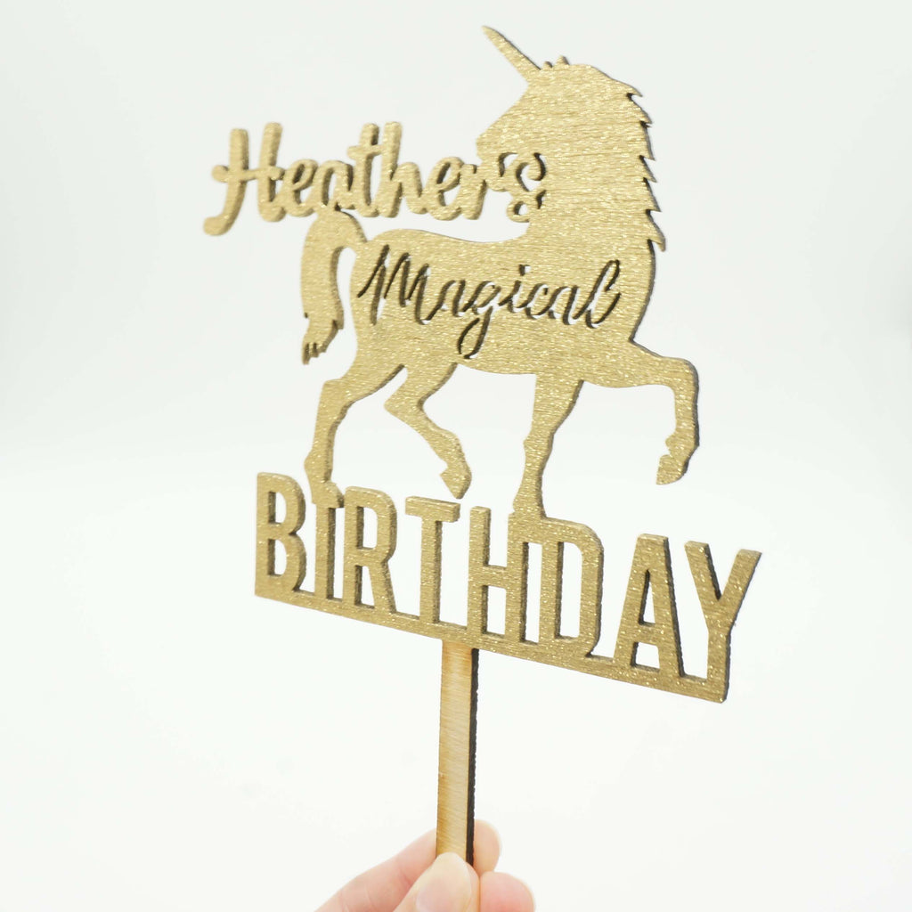 Custom Personalized Name Unicorn Magical Happy Birthday Gold Glitter ...