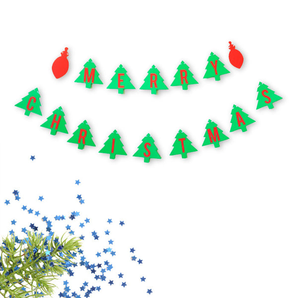 Merry Christmas Double Banner Christmas Tree and Ornament Red and Green Holiday Decoration- Le Petit Pain