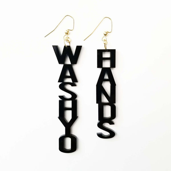 WASH YO HANDS Black Acrylic Earrings Word Block Jewelry