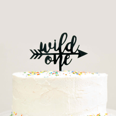 Wild One Arrow Birthday Cake Topper Tribal Birthday Party Black Acrylic- Le Petit Pain