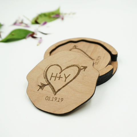 Trunk In Love Custom Personalized Name Initials and Date Coaster Set in Holder
