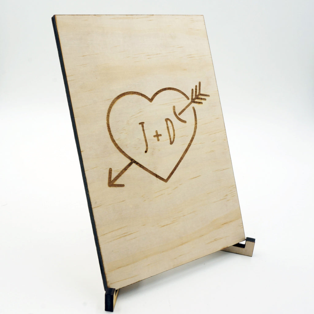 unique personalized handmade wood together card