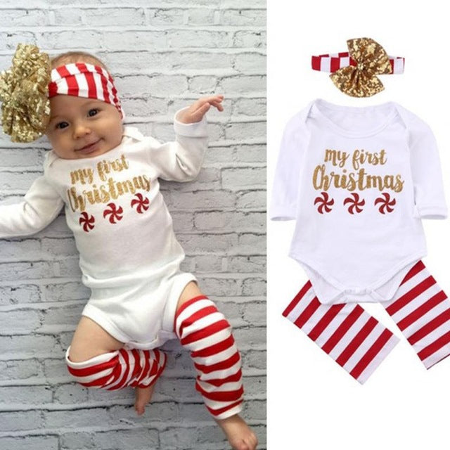 Christmas Outfit.Girls First Christmas Outfit Set With Headband