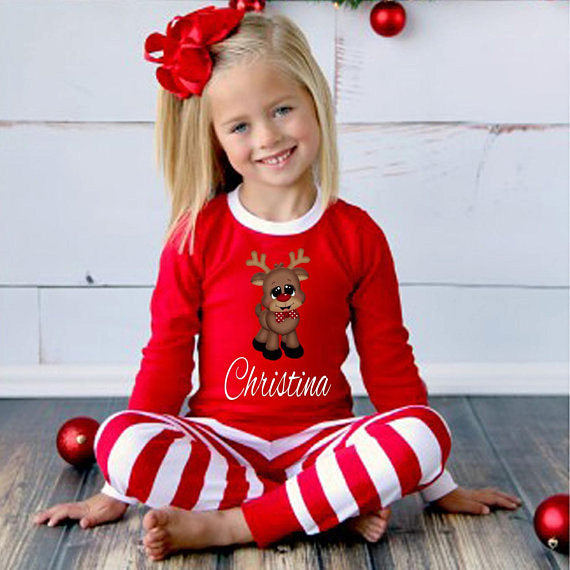 girls christmas pajamas personalized reindeer christmas pajamas
