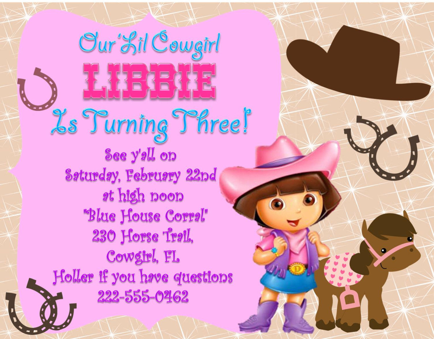 Dora cowgirl birthday invitation girls custom invitation bella dora cowgirl birthday invitation girls custom invitation filmwisefo