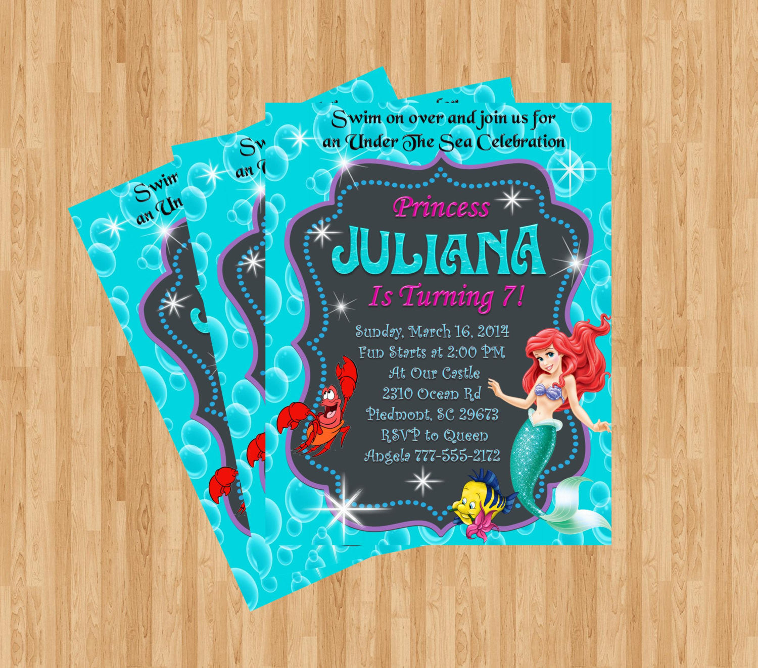 Little Mermaid Birthday Invitation Custom Invitation Bella