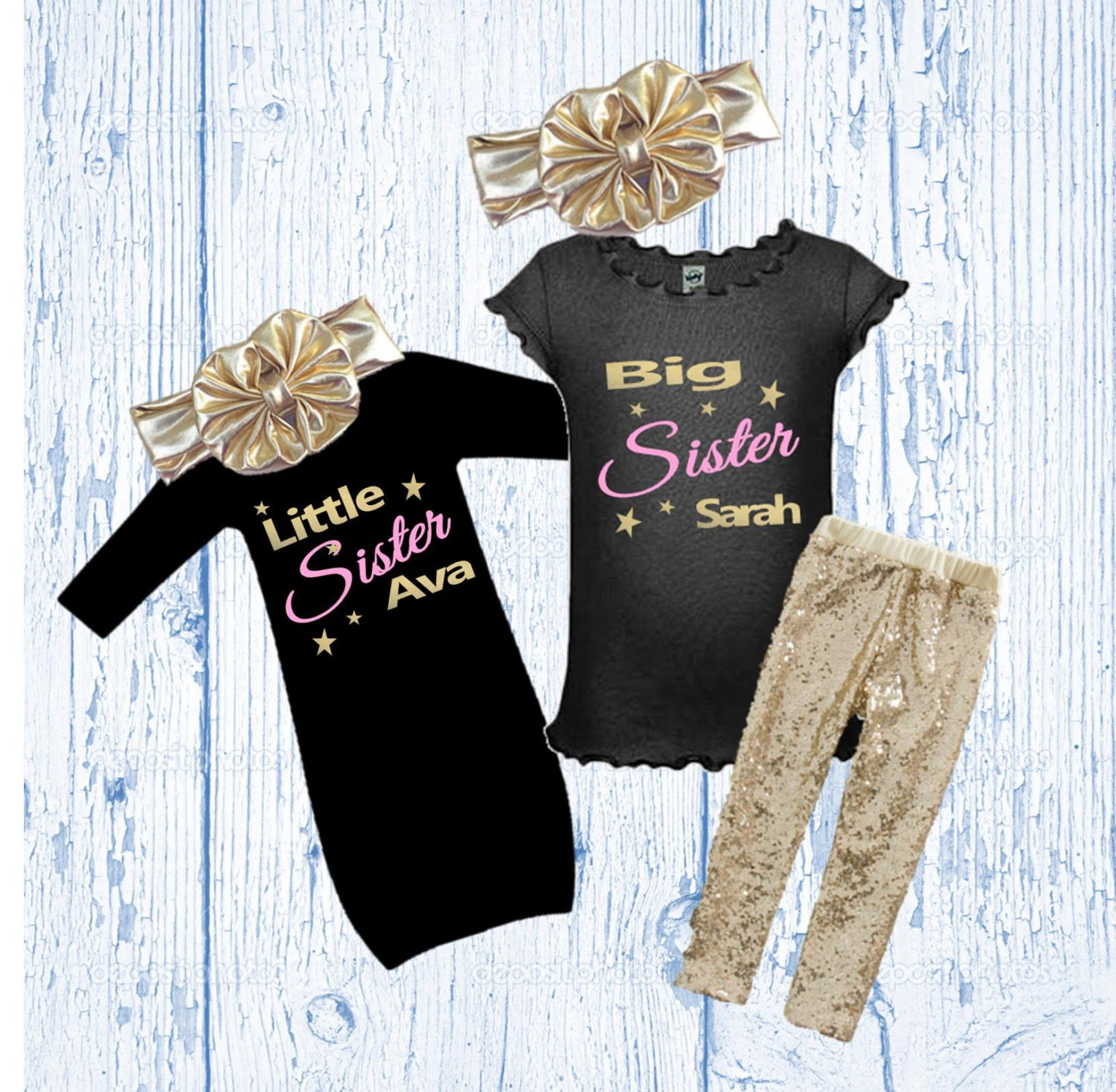 0a16bc8520d0 Big and Little Sister Matching Outfits - Sibling Matching Outfits - Gold  Glitter Big Sister