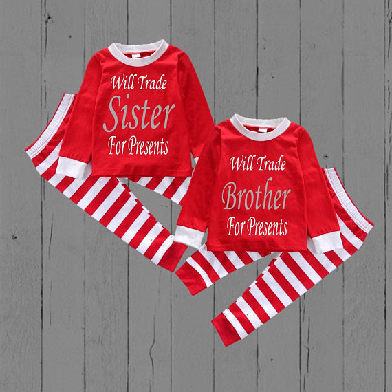 ad4e91459 Sibling Christmas Pajamas - Will trade for Presents – Bella Fashion Kidz