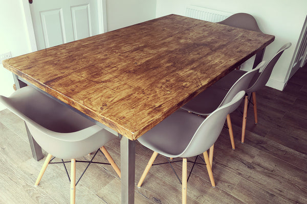 industrial dining table seats 8/10