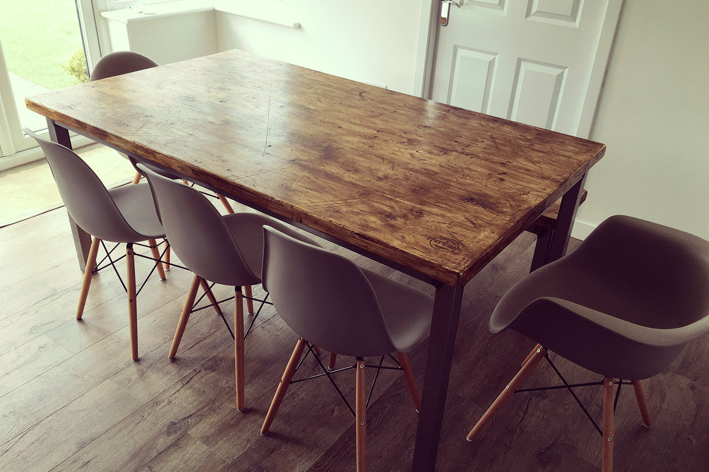 reclaimed industrial dining table