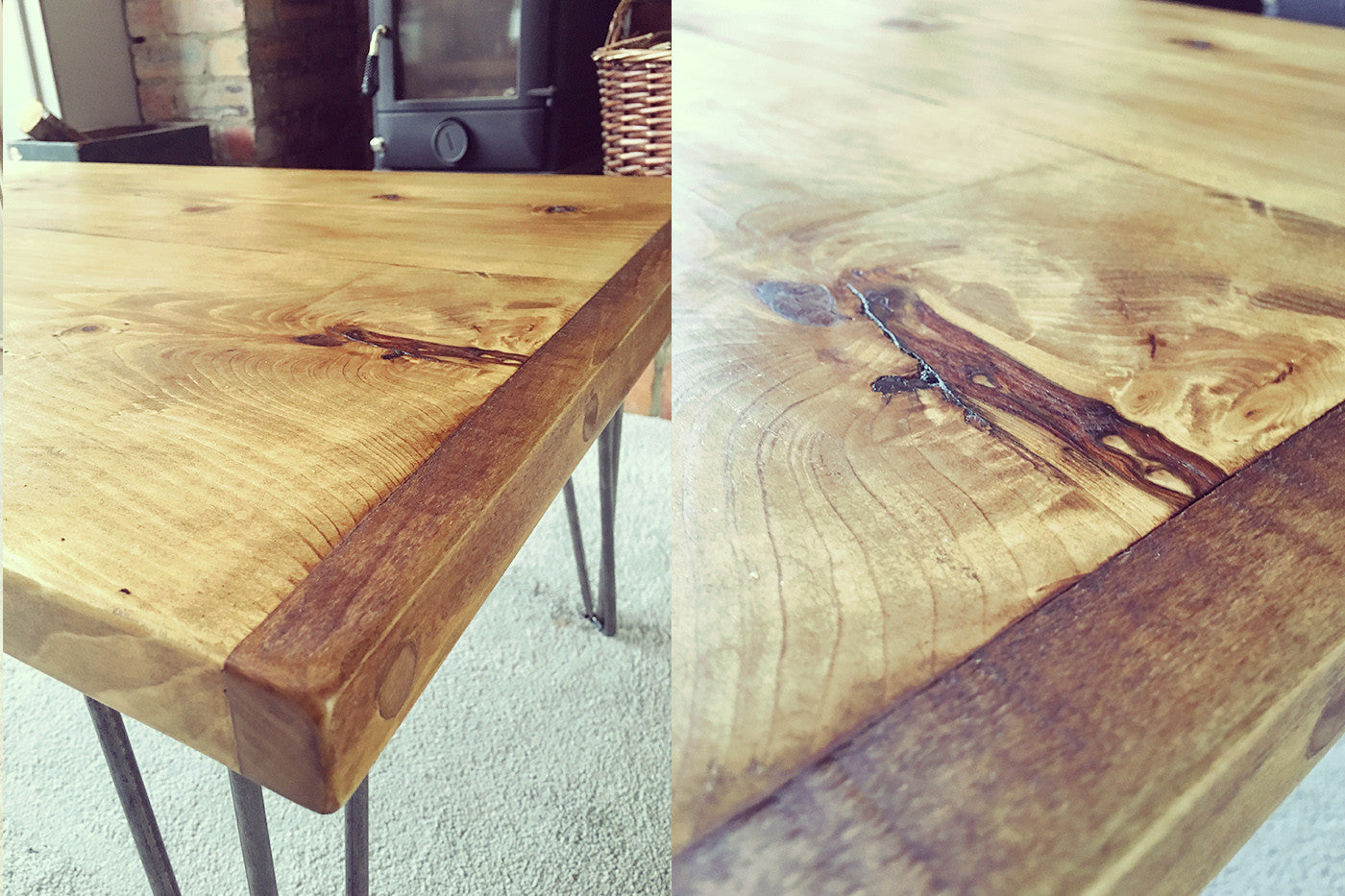 rustic Industrial coffee table with hairpin legs