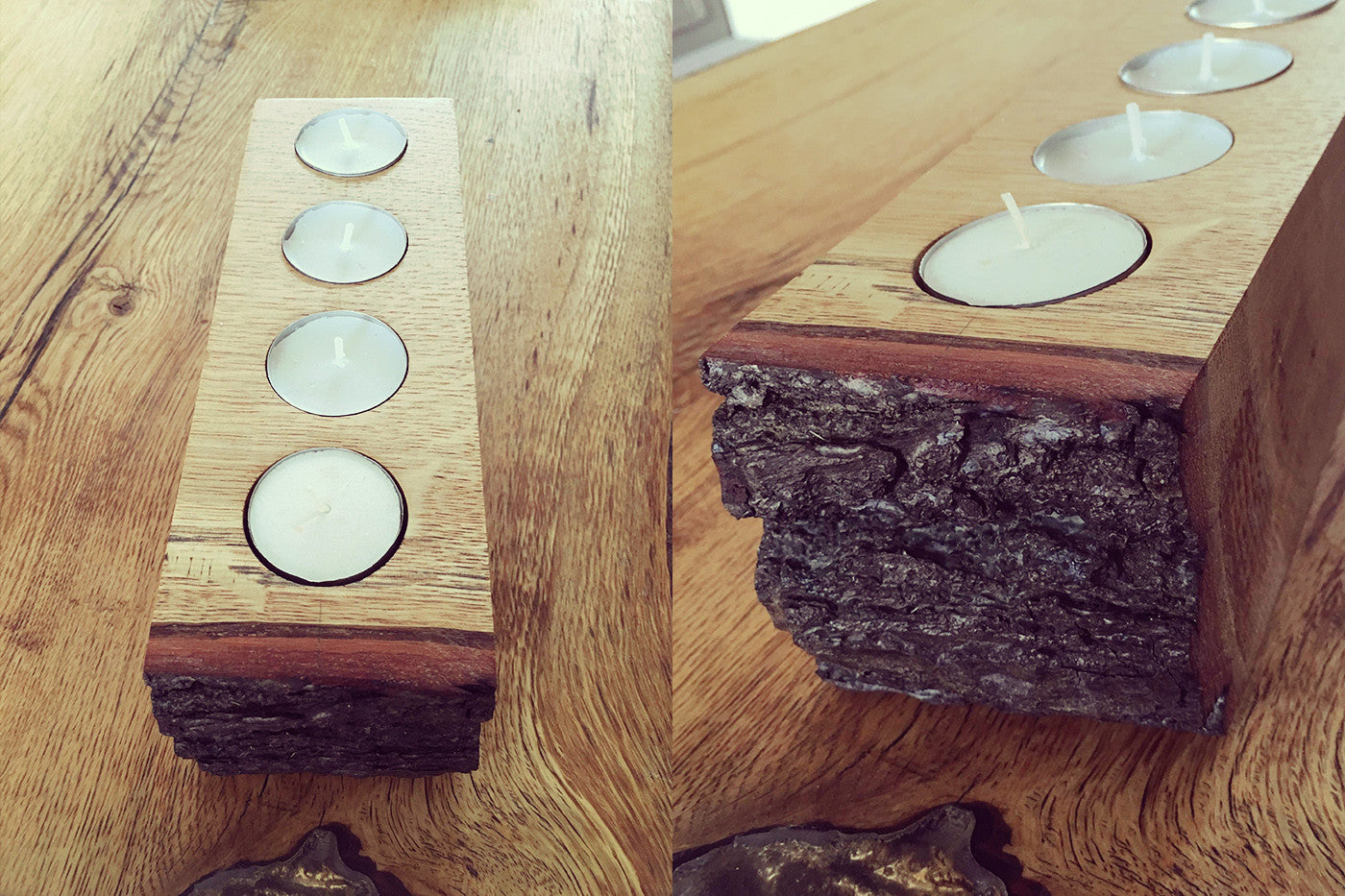 Live Edge Oak Tealight Holder