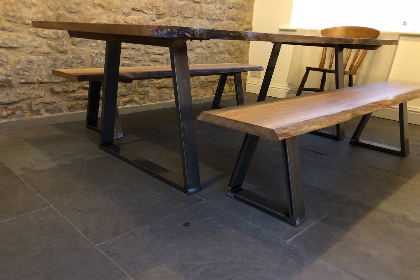 Oak table with industrial legs