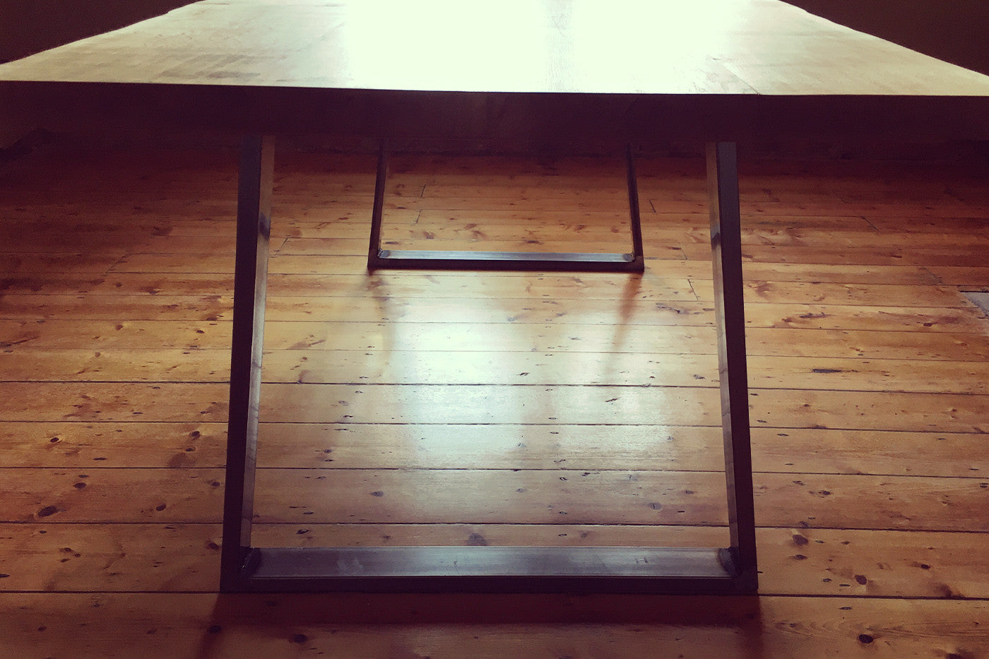 oak and steel dining table handmade