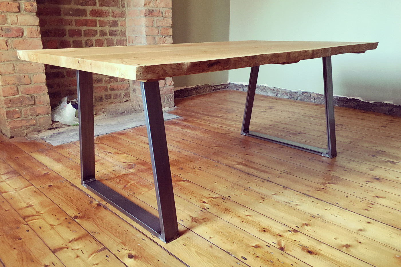 huge oak and steel dining table