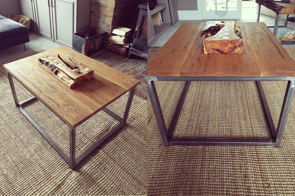 Industrial steel and oak coffee table