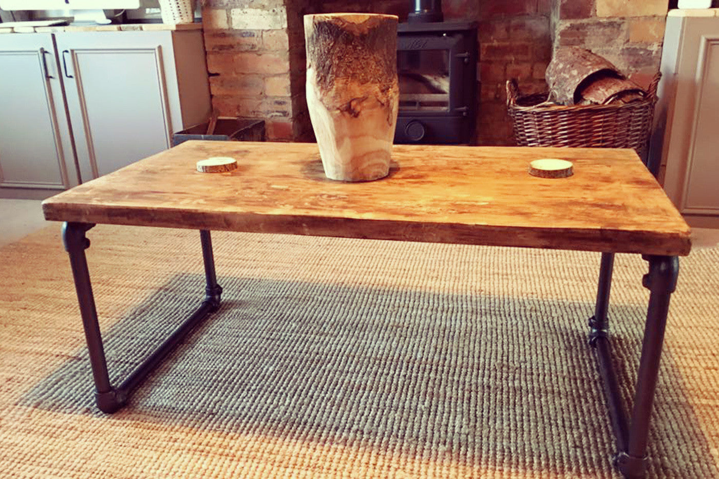 Industrial Steel Pipe Coffee Table   Crescent Fifty One