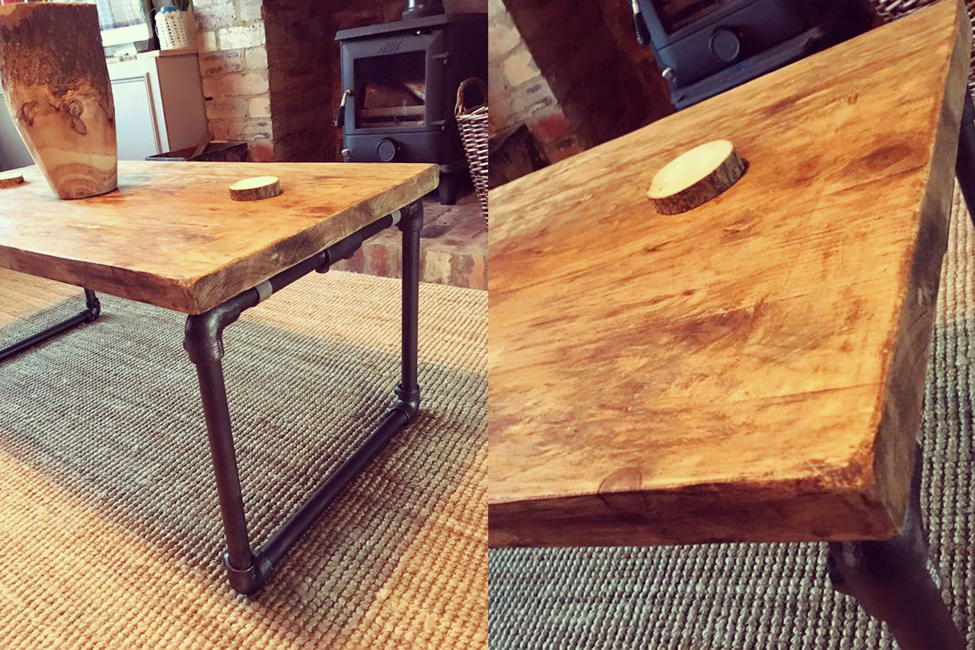 industrial coffee table with pipe legs