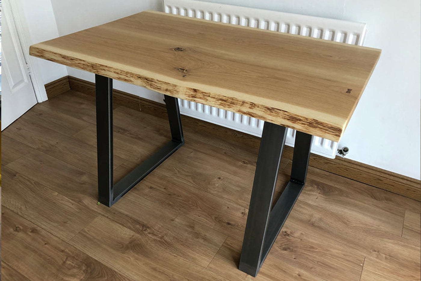 waney edge table with steel legs