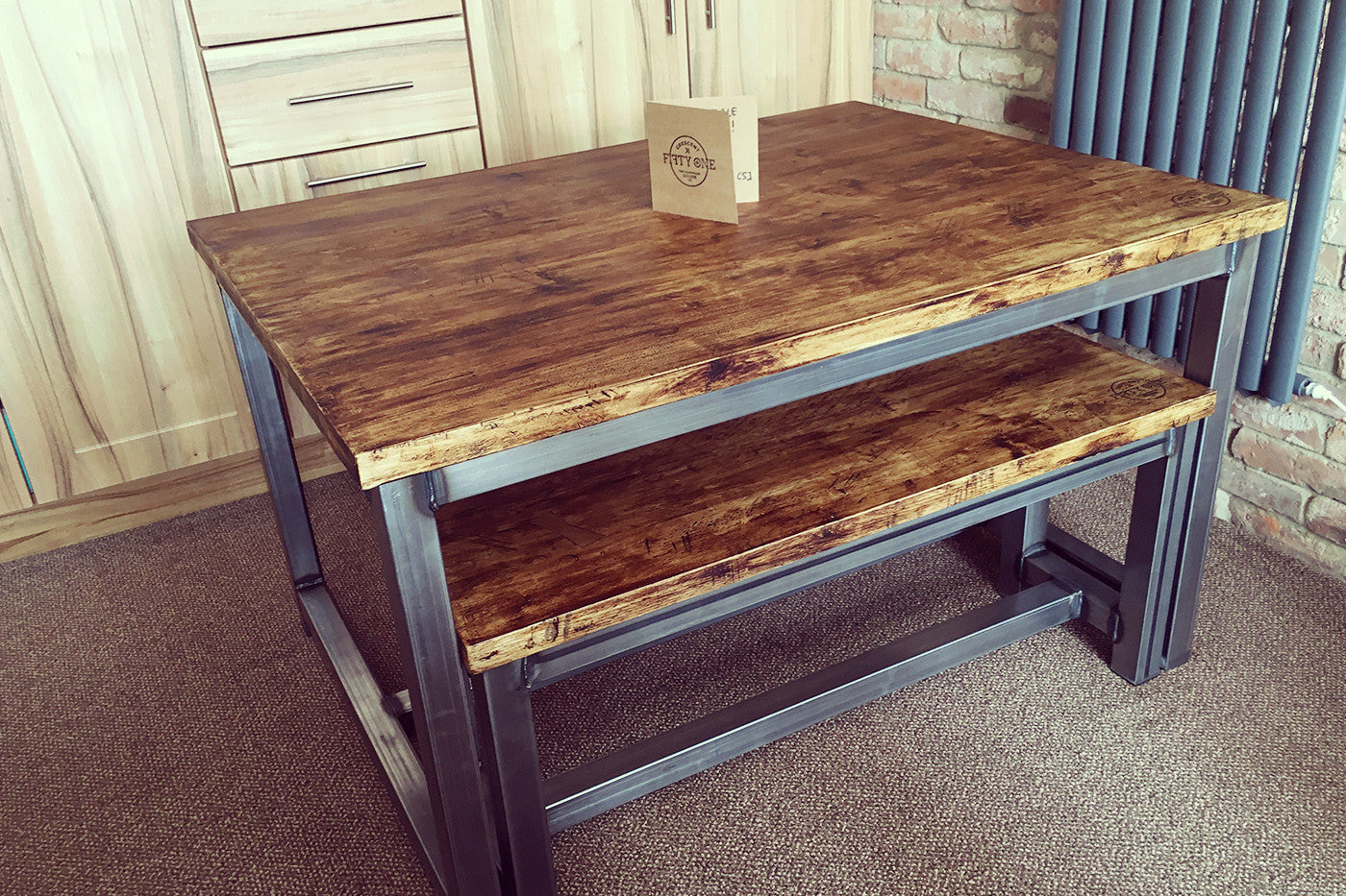 handmade industrial dining table