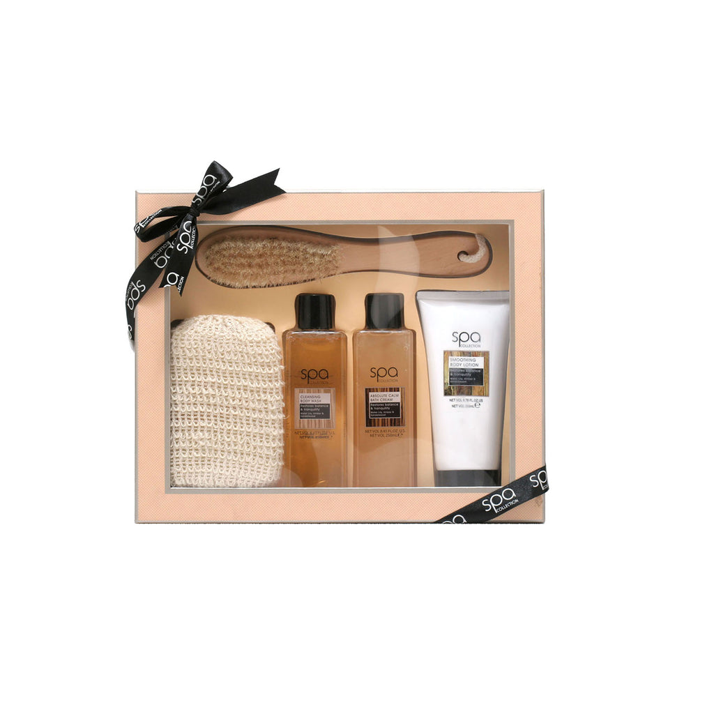 Style & Grace Spa Deluxe Natural Exfoliating 8.45 Oz Bath Cream/8.45 Oz Body Wash/6.76 Oz Body Lotion/Brush/Sponge
