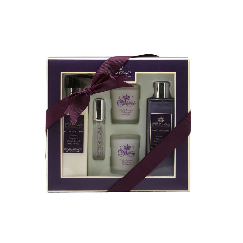 Style & Grace Timeout Bath experience Gift Set 8.45 Oz Body/8.45 Oz Body Cream/.51  Oz Spray/Candles x 2 - Fragrancelux