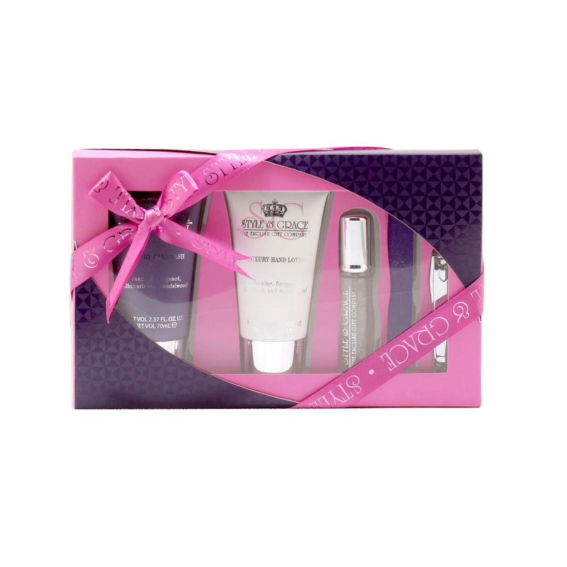 Style & Grace Signature Collection Pamper Kit/3.4 Oz Hand Wash/3.4 Oz Hand Lotion/.23 Oz Roll/File/Clip