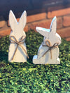 White Wooden Bunny with Twine Bow