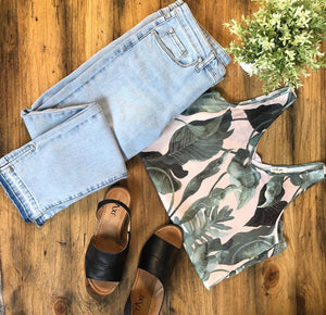 Light Wash Jeans & Leaf Print Tank (4415537348691)