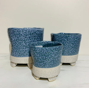 Blue Sand Pottery Succulent Pot