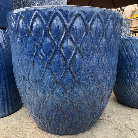 Blue Wave Ceramic Pot