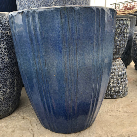 Blue Lined Ceramic Pot