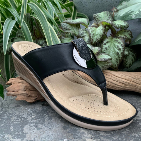 Black Wedge Sandal (4415943901267)